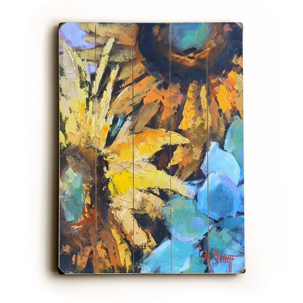 Sunflowers - Planked Wood Wall Decor by Carol Schiff