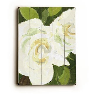 White Floral -   Planked Wood Wall Decor by Lisa Weedn