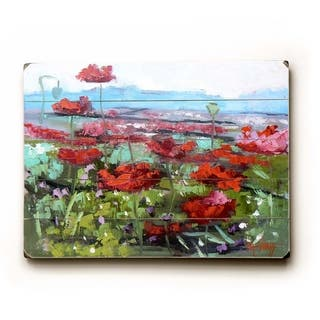 Red Poppies - Planked Wood Wall Decor by Carol Schiff