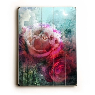 Colorful Roses -   Planked Wood Wall Decor by Krista Brock