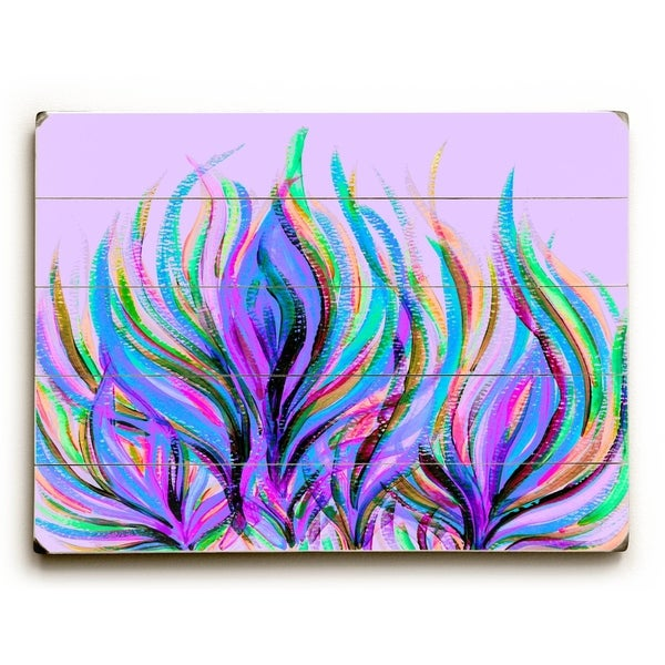 Peacock Floral Colors - Planked Wood Wall Decor by Lisa Argyropoulos