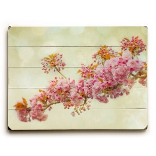 Pink Floral -   Planked Wood Wall Decor by Vanessa Fahmy