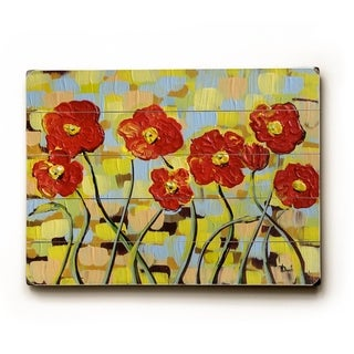 Ruby Poppies -   Planked Wood Wall Decor by Danlye Jones