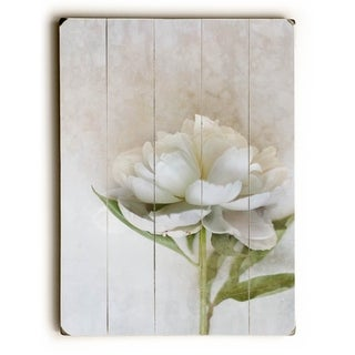 One Peony -   Planked Wood Wall Decor by Eva Ricci