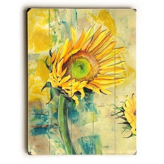 Sunflower -  Planked Wood Wall Decor by  Annie Flynn