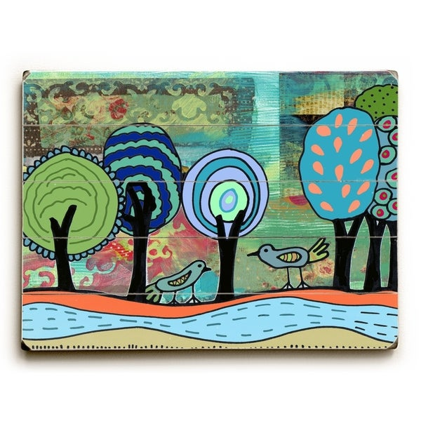 Birds on tree - Planked Wood Wall Decor by Beth Nadler