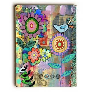 Happy Day Garden - Planked Wood Wall Decor by Beth Nadler