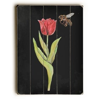Tulip and Bee Botanical -   Planked Wood Wall Decor by Jennifer Rizzo Design