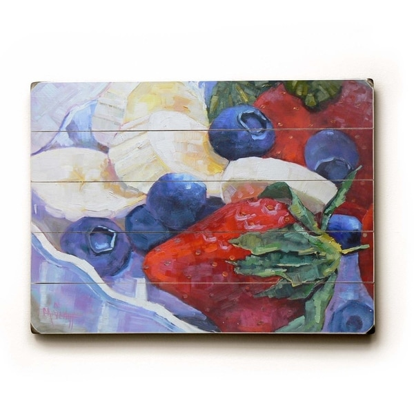 Strawberries and more - Planked Wood Wall Decor by Carol Schiff