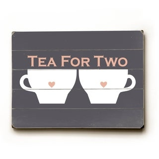 Tea For Two - Planked Wood Wall Decor by Amanda Catherine