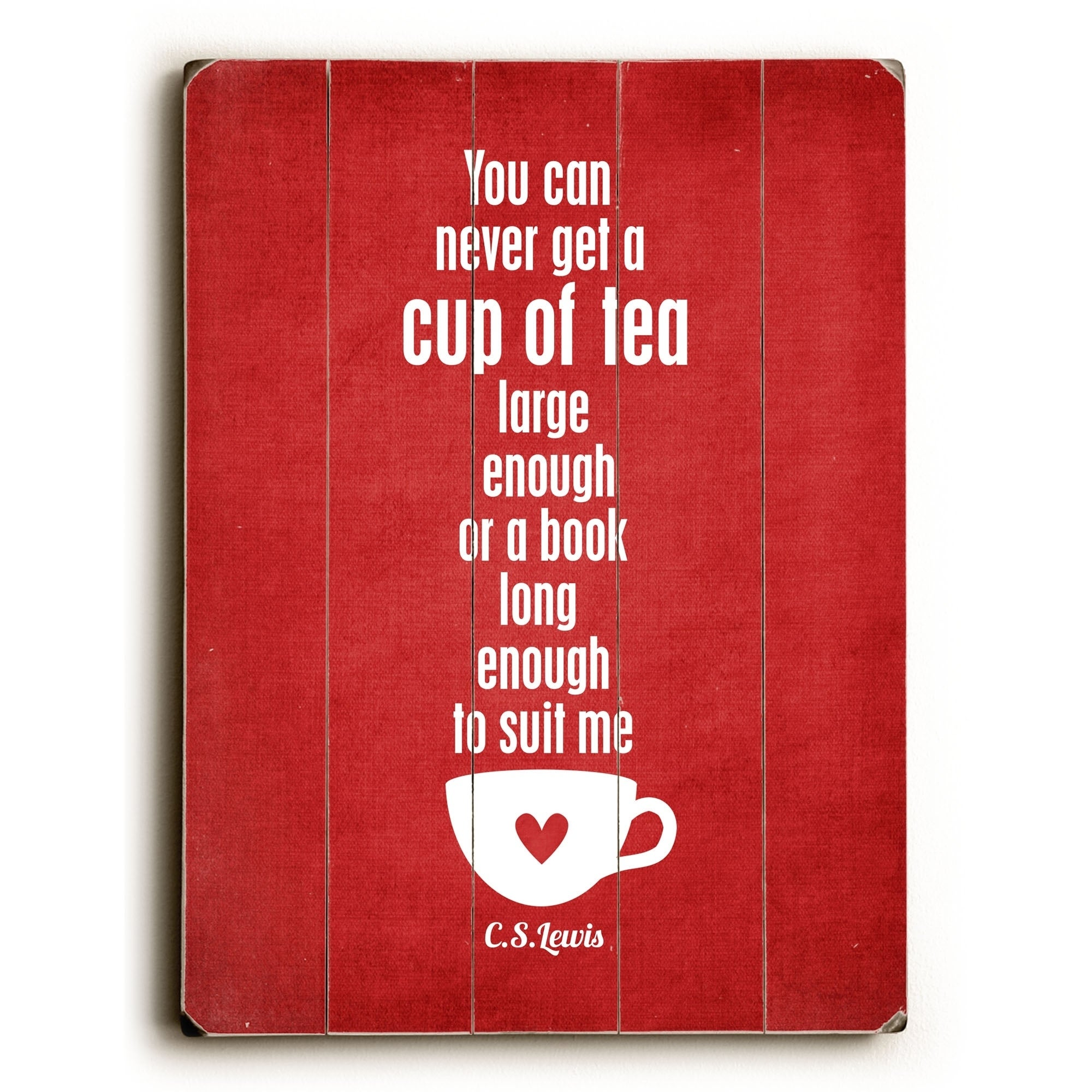 Cup Of Tea Red Planked Wood Wall Decor By Cheryl Overton Overstock 22736926