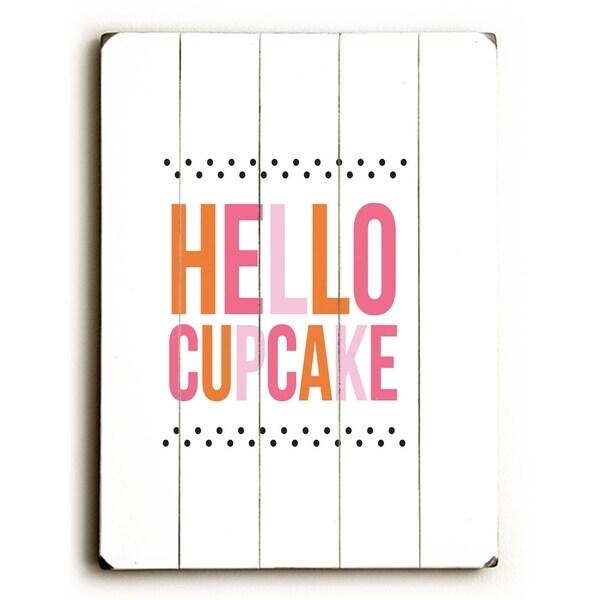 Hello Cupcake - Planked Wood Wall Decor by Amanda Catherine