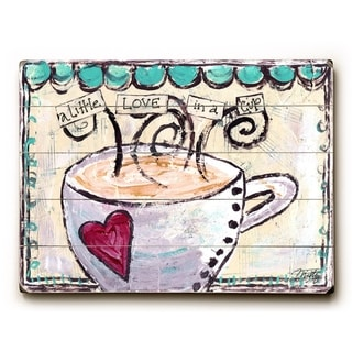 A little love in a cup -   Planked Wood Wall Decor by Misty Diller
