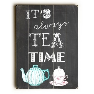 Tea Time -   Planked Wood Wall Decor by Claudia Schoen