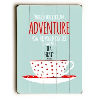 Tea Adventure -  Planked Wood Wall Decor by  Ginger Oliphant