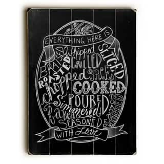 Kitchen Typography - Planked Wood Wall Decor by Robin Frost