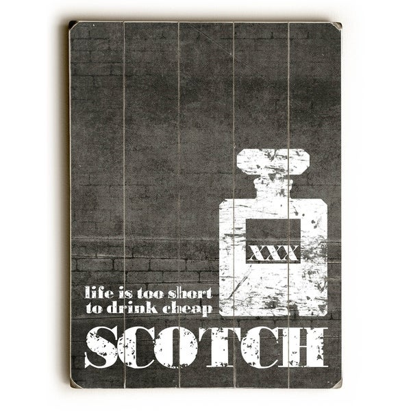 Life is too Short - Scotch Grey - Planked Wood Wall Decor by Cheryl Overton