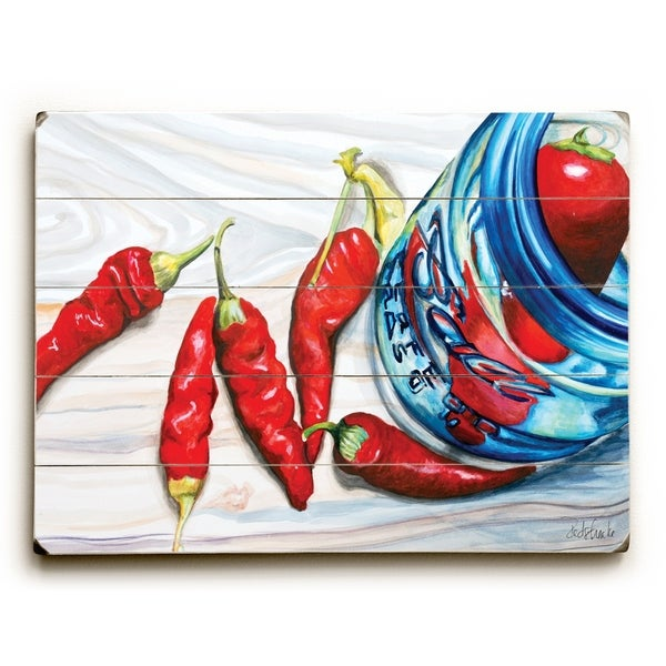Red Chili Peppers - Planked Wood Wall Decor by Jennifer Redstreake