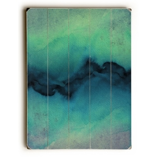 The Vibe Indigo Teal  - Green  Planked Wood Wall Decor by Julia Di Sano