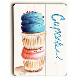 Stacked Cupcakes -  Planked Wood Wall Decor by  Jennifer Redstreake