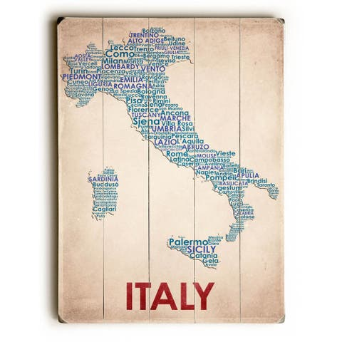 Italy - Planked Wood Wall Decor by American Flat