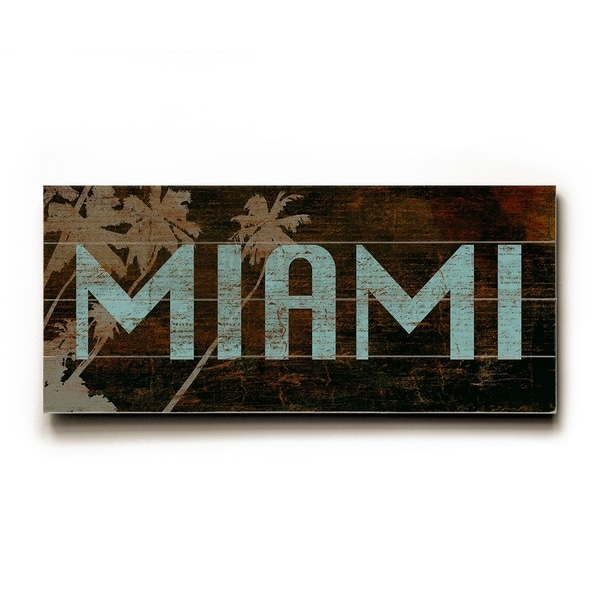 Miami red - Planked Wood Wall Decor by Cory Steffen