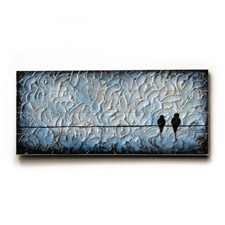 Metallic Love birds -   Planked Wood Wall Decor by Danlye Jones