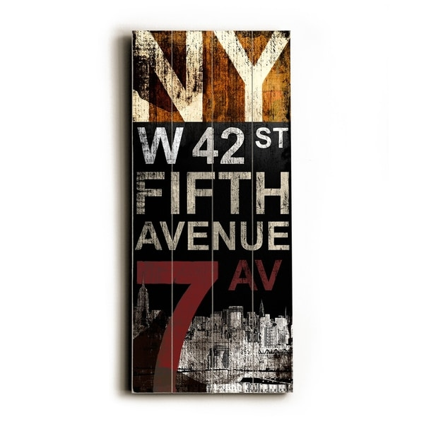 NY fifth ave - Planked Wood Wall Decor by Cory Steffen