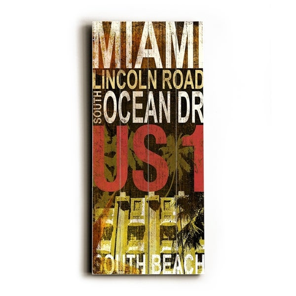 Miami South beach - Planked Wood Wall Decor by Cory Steffen