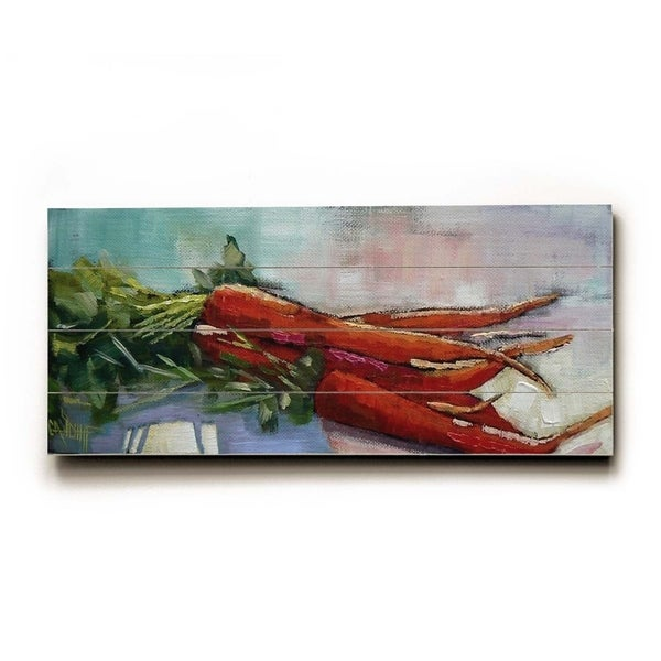 Bundle of Carrots - Planked Wood Wall Decor by Carol Schiff