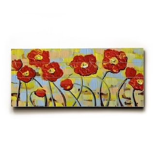 Ruby Poppies Long -   Planked Wood Wall Decor by Danlye Jones