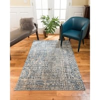 Natural Area Rugs Vintage Oriental Istanbul Polypropylene Rectangle Rug (8'X10') Blue - 8' x 10'