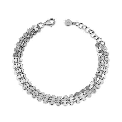 Serafina Sterling Silver Disk 3-Strand Bracelet
