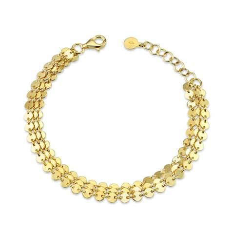 Serafina 14K Gold Plated Over Sterling Silver Disk 3-Strand Bracelet