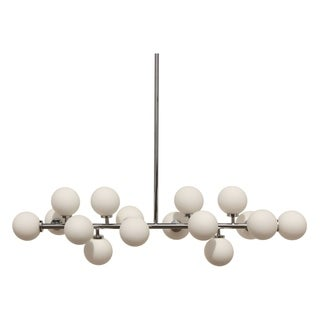 The Broadway Chrome and Frosted Glass Globe Rectangular Chandelier