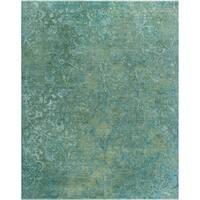 Noori Rug Fine Galaxy Steven Blue/Green Handmade Wool/Silk Rug - 8'1 x 9'9