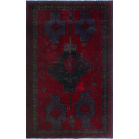 "Noori Rug Vintage Sherazi Catalino Red/Black Rug - 5'11"" x 9'4"""