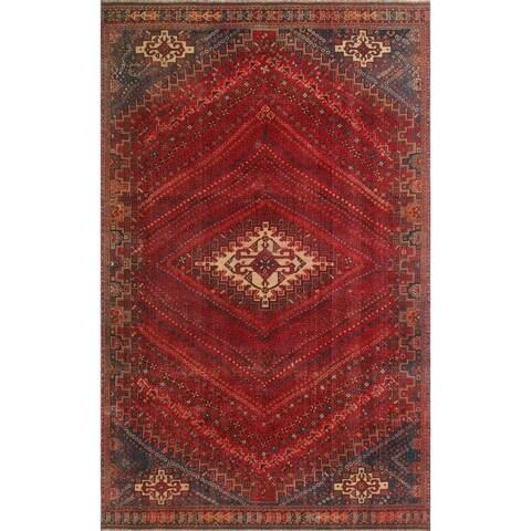 "Noori Rug Vintage Sherazi Hamal Red/Ivory Rug - 6'1"" x 10'0"""