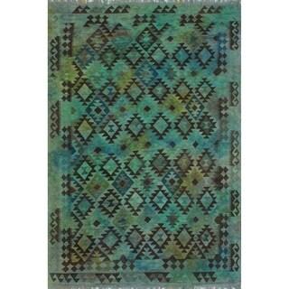 """Noori Rug Elan Overdyed Kilim Sinai Blue/Green Rug - 6'6"""" x 9'6"""""""