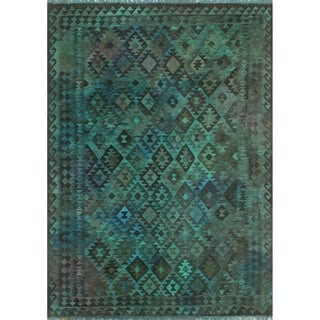 "Noori Rug Elan Overdyed Kilim Madelein Green/Blue Rug - 6'10"" x 9'5"""