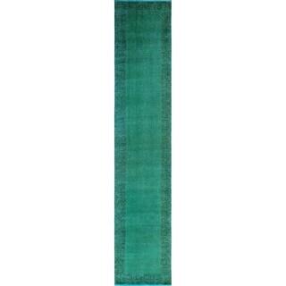 """Noori Rug Vintage Distressed Violeta Blue-Green/Drk. Brown Runner - 2'8"""" x 13'9"""""""