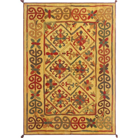 "Noori Rug Vintage Kilim Marly Gold/Red Rug - 4'11"" x 6'10"""