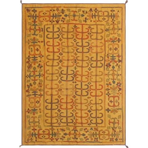 "Noori Rug Vintage Kilim Anjanique Gold/Green Rug - 5'8"" x 7'9"""