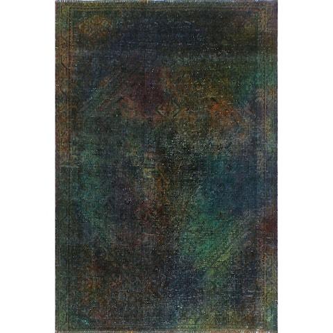 "Noori Rug Vintage Sherazi Overdyed Luis Green/Blue Rug - 4'10"" x 6'9"""