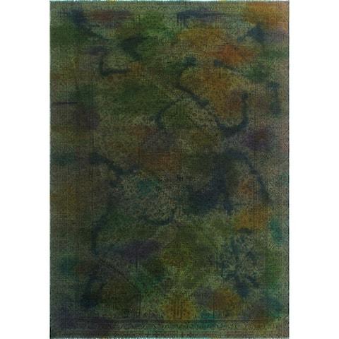 "Noori Rug Vintage Sherazi Overdyed Crisnell Green/Blue Rug - 7'2"" x 10'0"""