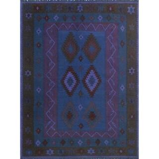 "Noori Rug Elan Overdyed Kilim Asareel Purple/Blue Rug - 5'3"" x 6'6"""