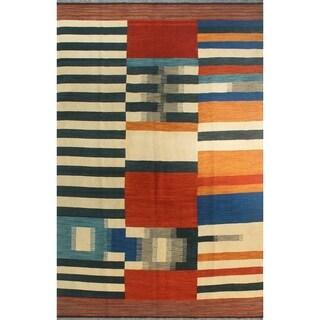 "Noori Rug Winchester Kilim Alessandra Ivory/Orange Rug - 6'6"" x 9'9"""