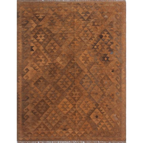 "Noori Rug Elan Overyded Kilim Vanessa Rust/Brown Rug - 5'1"" x 6'6"""