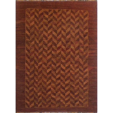 "Noori Rug Elan Overyded Kilim Admiel Rust/Orange Rug - 4'10"" x 6'8"""