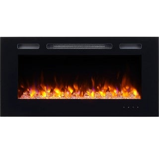"""Wall Mounted for 2 X 6"""" Stud, Log set & Crystal, 1500W heater"""